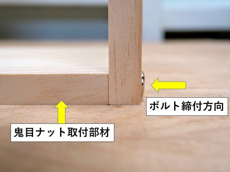 板材同士を直角に接合をする