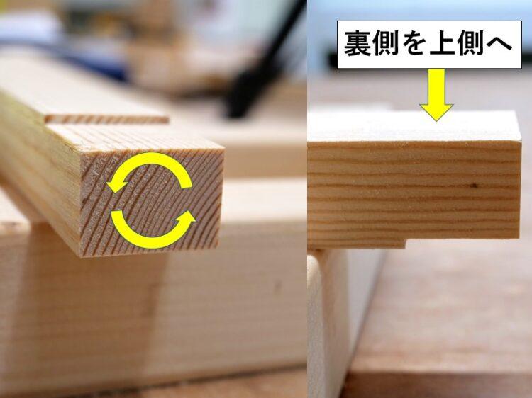 ②材を180°回転させる