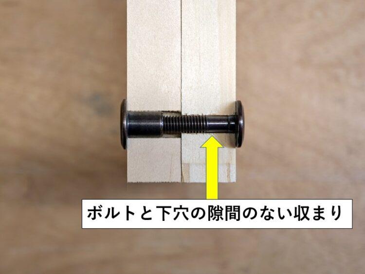 ボルト・Bタイプと下穴の隙間のない収まり