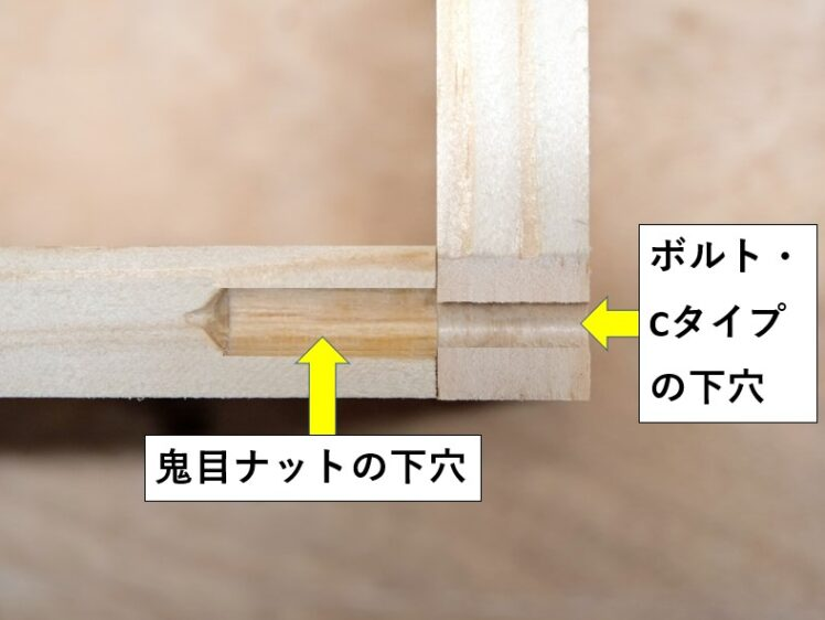 ボルト・Cタイプと鬼目ナットの下穴をそれぞれあける