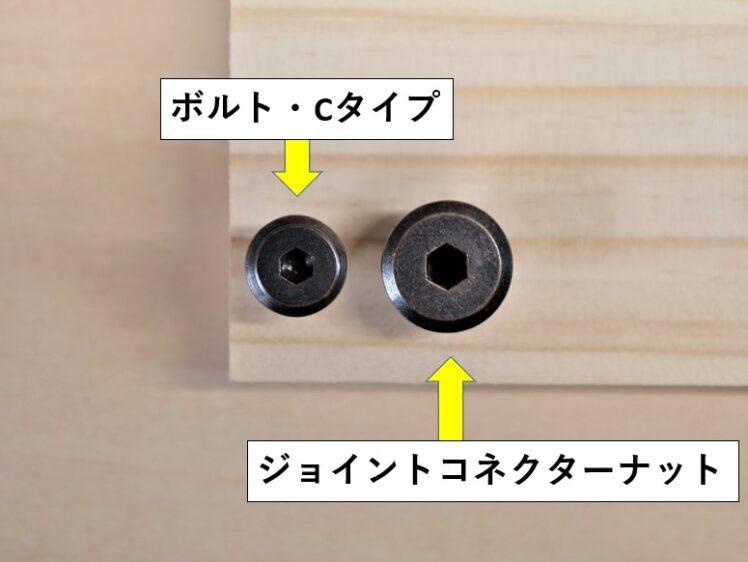 ボルト・Cタイプとジョイントコネクターナットの頭径比較