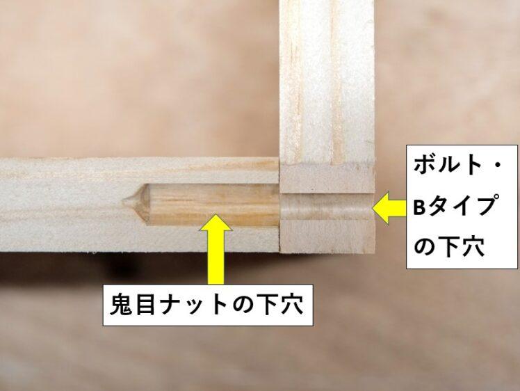 ボルト・ナットそれぞれの径に合わせた下穴をあける