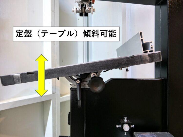 テーブル傾斜が可能な状態にしておく