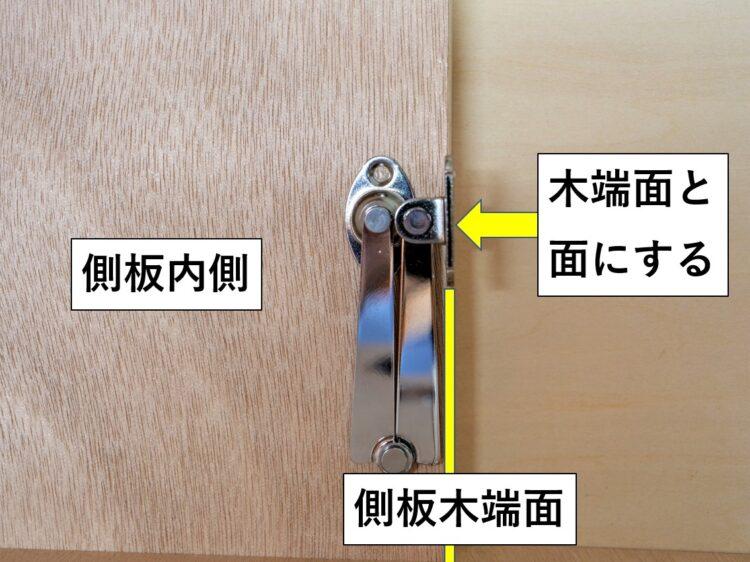 全閉時に扉取付ベースと側板木端面が面になる様にする