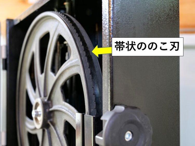 帯状ののこ刃が車輪と共に回転する
