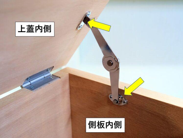 ステー両端部をそれぞれ上蓋内側と側板内側に取り付ける