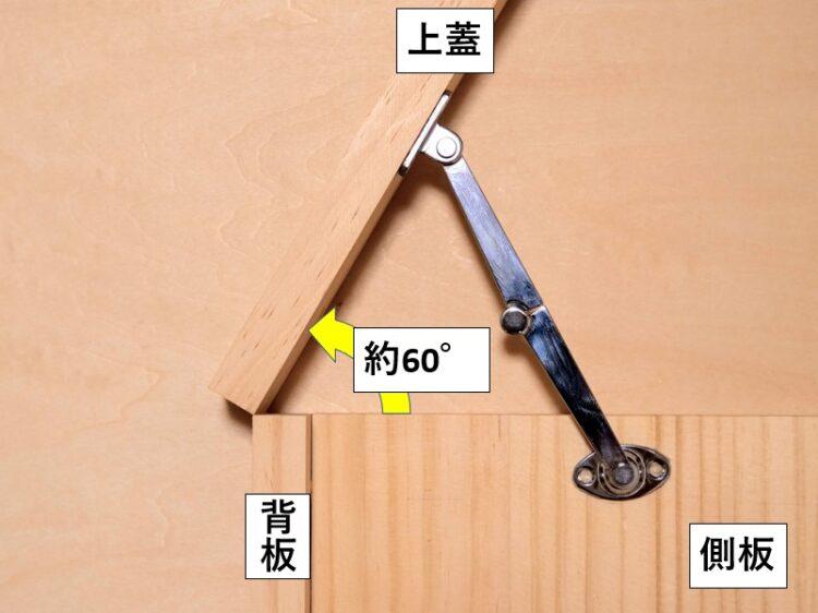 上蓋の開き角度を60°程度とする