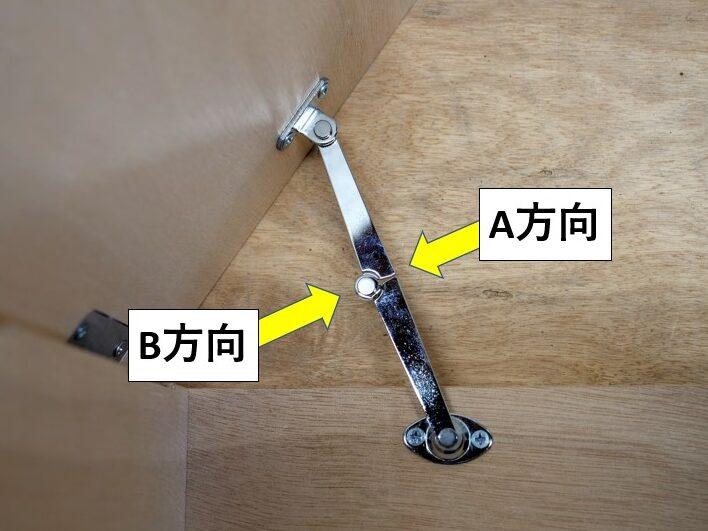 天蓋用ステー(折り畳みタイプ)のロックと解除方向