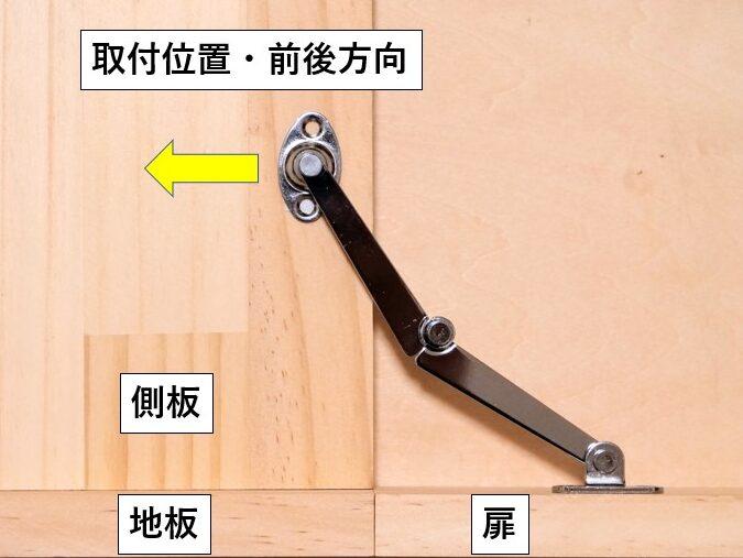 側板取付ベースの前後方向における取付位置