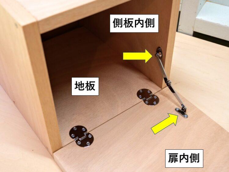 ステーは側板内側と扉内側に固定