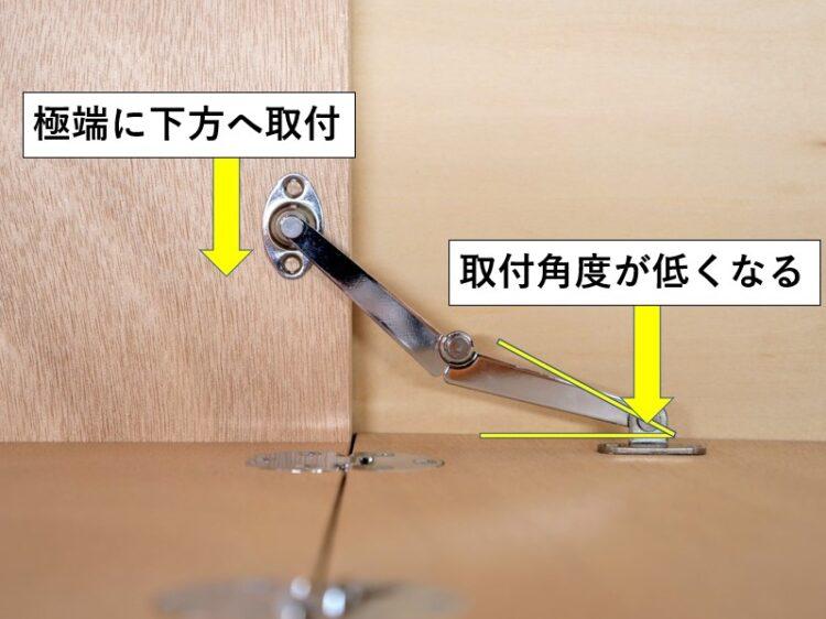 側板取付ベースを極端に下方へ取り付ける