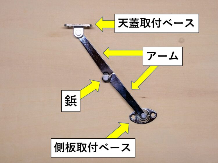 天蓋用ステー(折り畳みタイプ・右用)