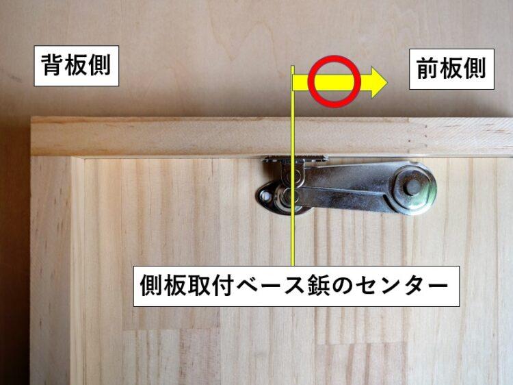 必ず側板取付ベース鋲・センターより前板側へ取り付ける