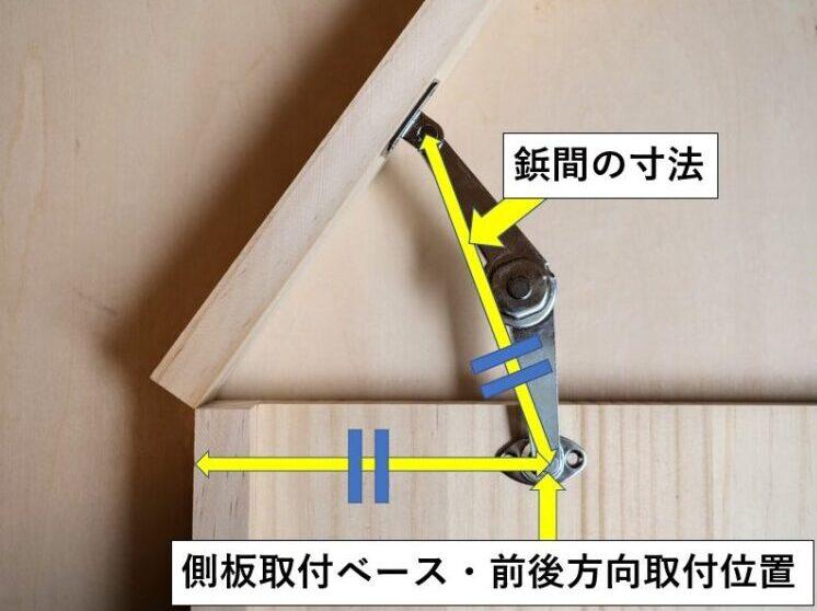 側板取付ベースの前後方向の取付位置