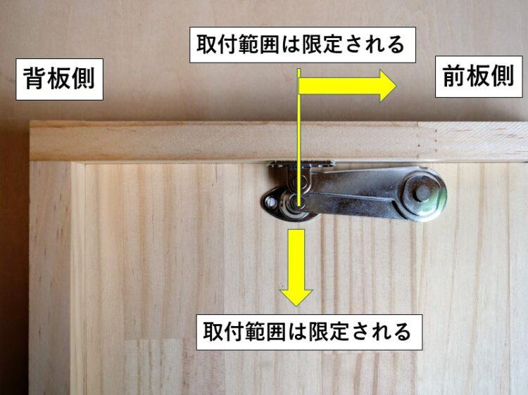 上蓋・側板取付ベースの取付範囲は限定される