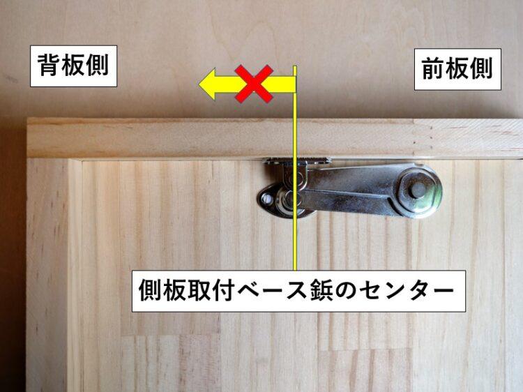 側板取付ベース鋲・センターより背板側へ取り付ける事はしない
